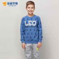 英格里奥新款男童英伦风休闲套装儿童大码运动卫衣裤两件套潮893S