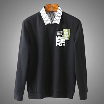 男人的衣柜!秋冬加绒假两件简约衬衫领黑色针织衫剪标打底毛衫 003413海 加绒假两件-  【新款上新,支持七天退换货,欢迎购买】