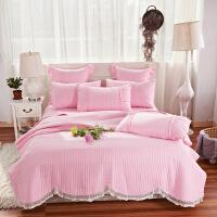 纯棉床盖三件套夹棉床单被套韩国绗缝被子棉床盖四件套
