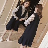2018孕妇春装新款韩版时尚孕妇装条纹衬衫孕妇连衣裙中长款上衣 图片色
