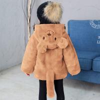 童装2020冬季新款女童狗熊尾巴毛毛衣中小童仿皮草外套夹棉棉袄