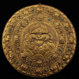 老纯铜皮纯手工打造镶嵌宝石鎏金兽头辟邪唐卡 坛城