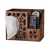 复古木质实木餐巾纸盒复古纸巾盒多功能遥控器收纳盒客厅抽纸盒
