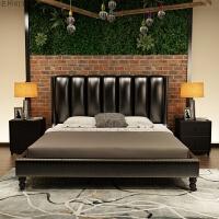 北欧床1.8米2现代简约欧式双人大气婚床主卧室实木软包皮艺床 +椰棕床垫