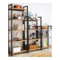 钢木客厅创意储物收纳书架简约现代搁板置物架层架落地墙壁架铁艺