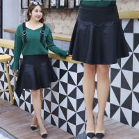 200斤胖妹妹加肥加大码韩版显瘦PU皮裙短裙半身裙A字裙女春季新款