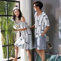 情侣睡衣夏季纯棉短袖吊带睡裙中长款夏天男女士V领家居服套装 7C665-8C666情侣