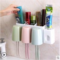 卫生间创意牙刷置物架盒刷牙杯套装洗脸吸壁式壁挂牙膏牙具漱口挂