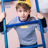 souhait水孩儿童装春季新款男童圆领衫时尚清新条纹长袖T恤儿童圆领衫