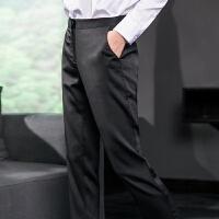 开叉设计黑色直筒西装裤舒适微弹女士裤子休闲九分裤 黑色