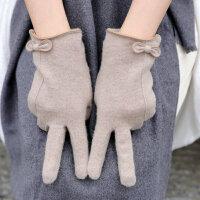羊绒手套女保暖秋冬手套女士加绒厚棉触摸屏手套骑车开车五指 均码