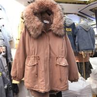 棉衣新款2018加厚 中长款 冬女款宽松羊羔毛百搭超大毛领外套