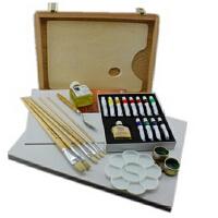 马利12色水调油画套装油画颜料套装油画框16件套1套装如图示 马利12色水调油画套装油画颜料套装