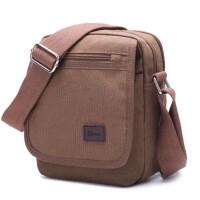 帆布包单肩包 男士小包包 休闲竖款斜挎包 咖啡色