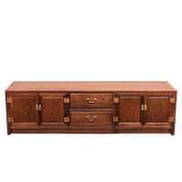 家具 客厅电视柜组合 实木中式素面鸡翅木落地柜 组装