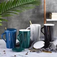 陶瓷马克杯带盖勺杯子创意个性潮流情侣男女牛奶咖啡杯家用茶水杯