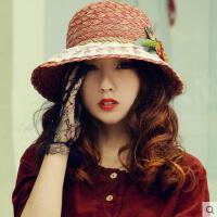 户外女帽草帽出游遮阳帽凉帽遮阳帽沙滩帽可折叠帽子潮女夏天太阳帽防晒帽