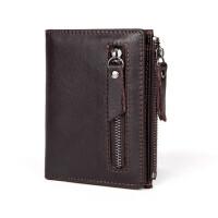 男士钱包钱夹短款钱包复古多卡位拉链手拿包、大容量休闲商务钱包