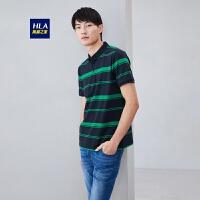 HLA/海澜之家基础条纹短袖POLO半开襟休闲POLO男