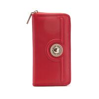 VERSACE JEANS范思哲 春夏女士红色聚酯纤维拉链长款钱包E3VRBPL1 70037 500
