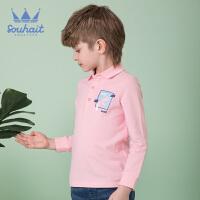 【3件3折:56元】souhait水孩儿童装秋装新款男童POLO衫时尚长袖POLO衫儿童POLO衫