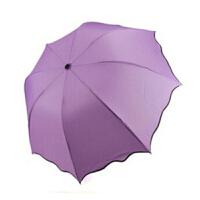 太阳伞遮阳伞 雨伞彩虹伞 公主晴雨伞遇水变花朵遇水开花雨伞防晒黑胶防紫外线晴雨两用三折叠太