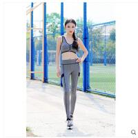 运动跑步衣服套装瑜伽服三件套 长袖健身服女