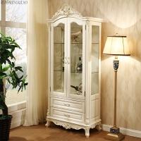 欧式酒柜组合实木法式单双门客厅柜玻璃柜法式 白色 双门