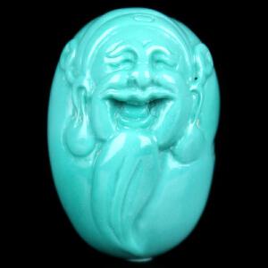 原矿高瓷高蓝绿松石财神吊坠 重2.60g