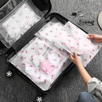 行李箱收纳袋 旅行收纳袋旅游衣服整理袋防水密封袋衣物分装行李箱收纳包打包袋L 超大号12个(火烈鸟印花加厚)