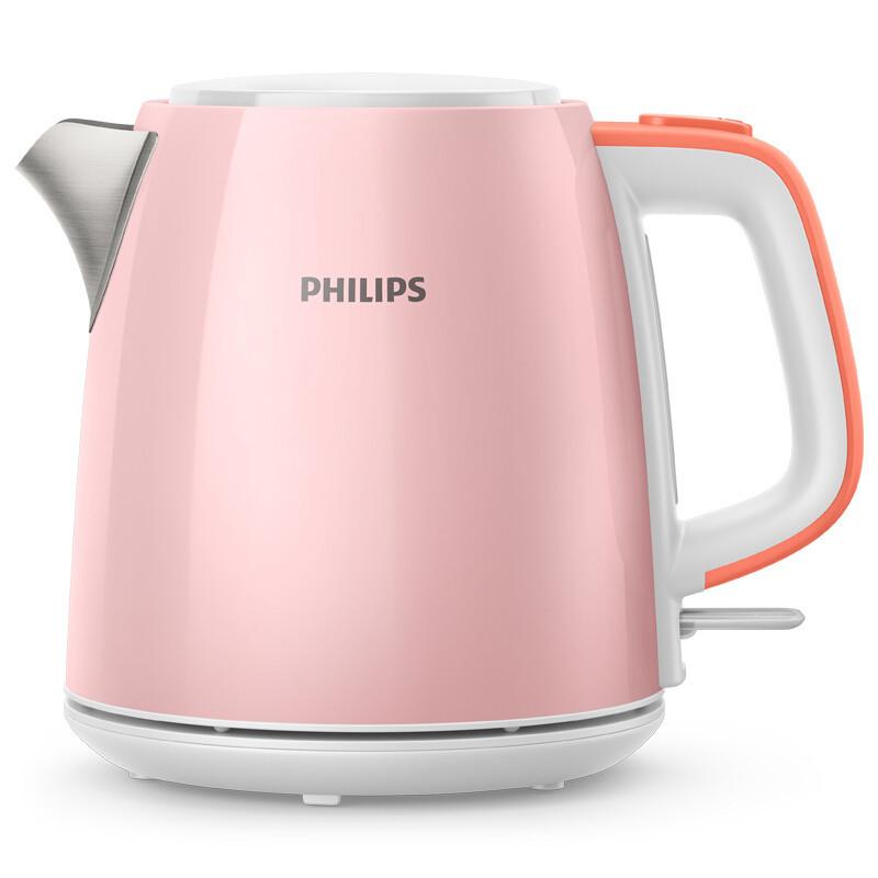 飞利浦(PHILIPS)电水壶 HD9348 防干烧电热水壶 304不锈钢 1L容量 粉色 粉色厨电系列    咨询客服有好礼