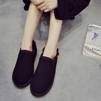 雪地靴女短筒韩版情侣百搭学生冬季保暖加绒一脚蹬低帮棉鞋面包鞋