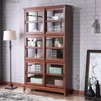 美式简约书柜书架自由组合柜子复古储物柜带玻璃门卧室书房 0.6-0.8米宽