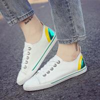 皮面帆布鞋女系带拼色小白鞋平底韩版休闲鞋百搭学生球鞋女生板鞋