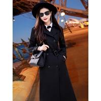 2018秋冬新款韩版风衣女装长袖双排扣中长款外套黑色收腰修身显瘦 黑色