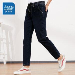 [2件4折价:57.6元,每满150再减30元/仅限8.23-26]真维斯女装 春秋装 时尚雨纹牛仔慢跑裤