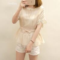 小清新短袖雪纺衫女夏季新款韩版仙气质显瘦收腰短袖蕾丝上衣 米白色 S