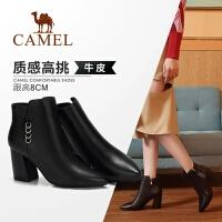 骆驼女鞋2018冬季新款短靴 时尚休闲韩版百搭真皮靴子粗跟女靴