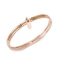 钛钢镀玫瑰金手镯女个性拉锁手环饰品学生生日闺蜜女友礼物