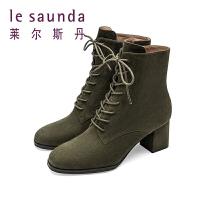 莱尔斯丹新款百搭网红复古马丁靴女系带粗跟高跟短靴9T68901