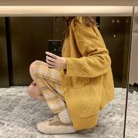 毛菇小象毛衣女秋冬外穿套头2068新款宽松圆领显瘦绑带毛针织衫