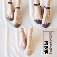 2018新款玻璃丝袜子女棉底短袜透明日系水晶丝夏季韩版日系可爱款蕾丝船袜花边 咖啡色+紫色+粉红色 3双装 均码