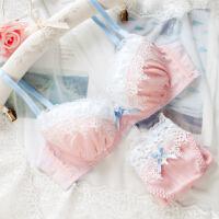 舒适日系可爱蕾丝少女文胸套装有钢圈薄杯内衣裤学生甜美纯棉里杯 粉色 套装