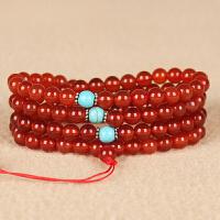 红玛瑙圆珠创意DIY绕4圈手链 直径6.5mm 重37.84g