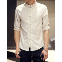 夏季男中式亚麻衬衫男士棉麻立领盘扣五分袖衬衫