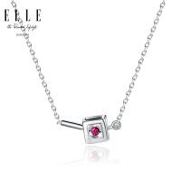 ELLE项链 正中红心 925银饰品镶嵌红宝石正方形吊坠 来自法国 3084100