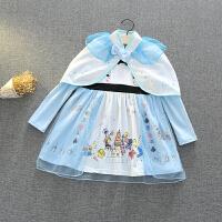 圣诞节女童宝宝爱莎安娜白雪苏菲亚公主裙长袖连衣裙子斗篷纯棉秋