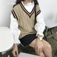 韩国学院风甜美木耳边长袖衬衫女显瘦打底衫学生宽松上衣 均码