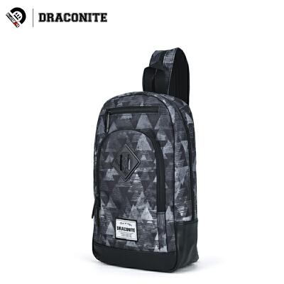 【支持礼品卡支付】DRACONITE潮牌几何帆布胸包男生时尚休闲印花单双肩两用包女13382全国包邮