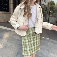 毛菇小象高腰复古格子半身裙女秋2019新款设计感复古港味格子短裙
